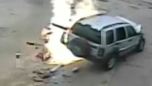 Jeep Collides With Gas Pump, Lights On Fire