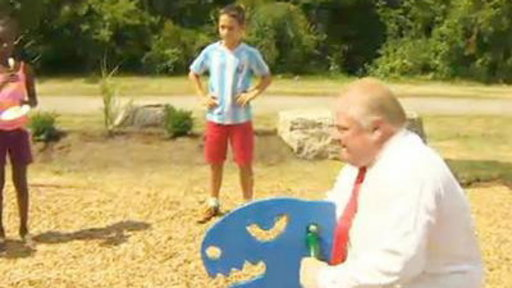 Rob Ford and Brother Caught On Video Riding Seesaw