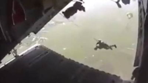 Soldier Dangles After Chute Gets Tangled
