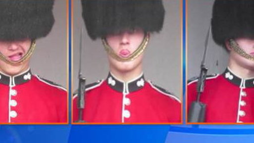 Queen's Guard Makes Faces Outside Palace