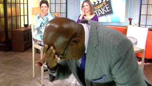 Texting & Walking: Al Smacks His Head On the Set