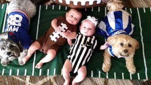 Twin Babies Show Off Their Cute Game Day Style